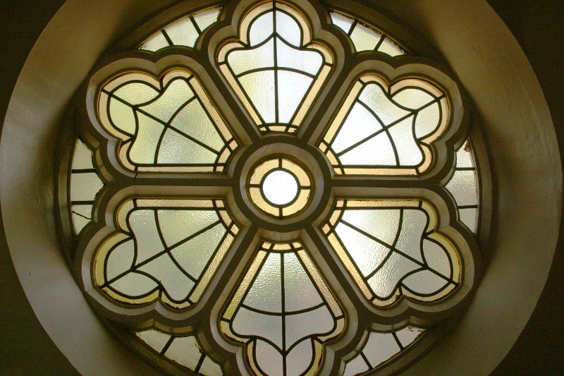 Hare Krishna leaded glass window 1    (click for previous picture)