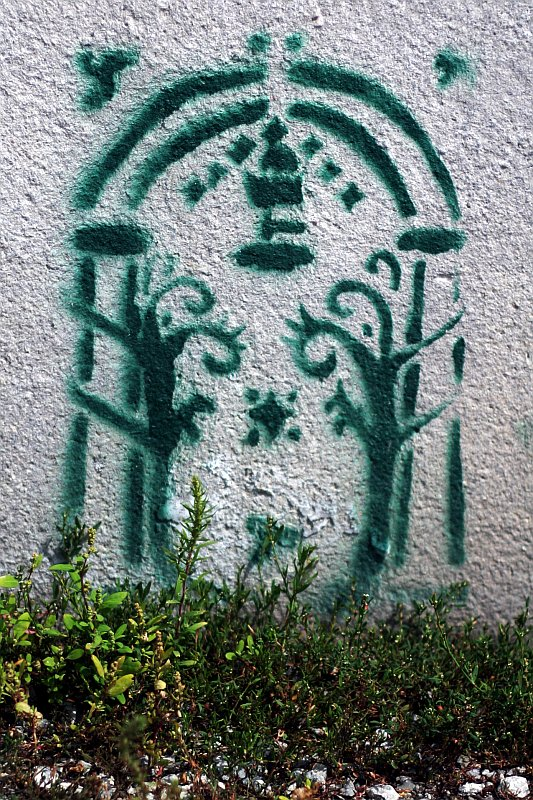 stencil graffiti of a garden arch