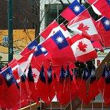 Toronto Chinatown parade flags