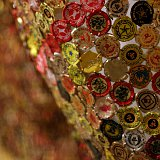 Close-up of El Anatsui 'Continents' commissioned for the ROM